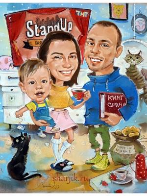 Шарж для семьи из Белоруссии