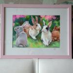 картина с кроликами, картина на продажу, картина пастелью, пастель