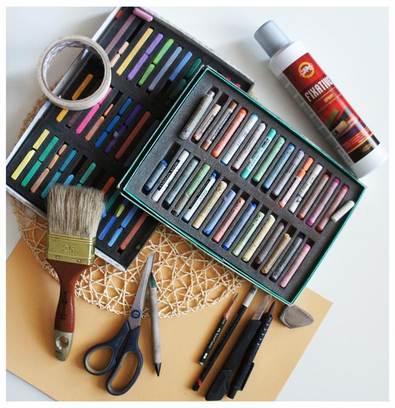 патсель, кисти, ластик, рабочие инструменты художника