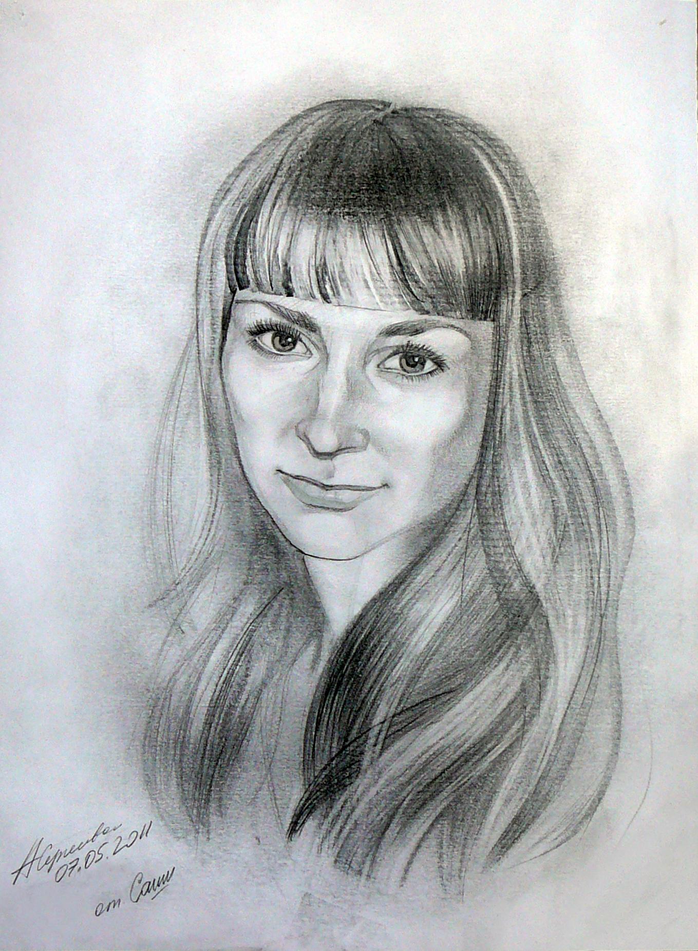 портрет кати, портрет девушки, портрет карандашом