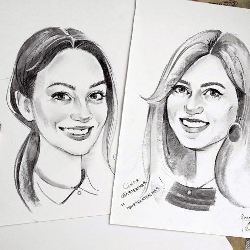 шарж карандашом, шарж углем, рисунки и портреты людей