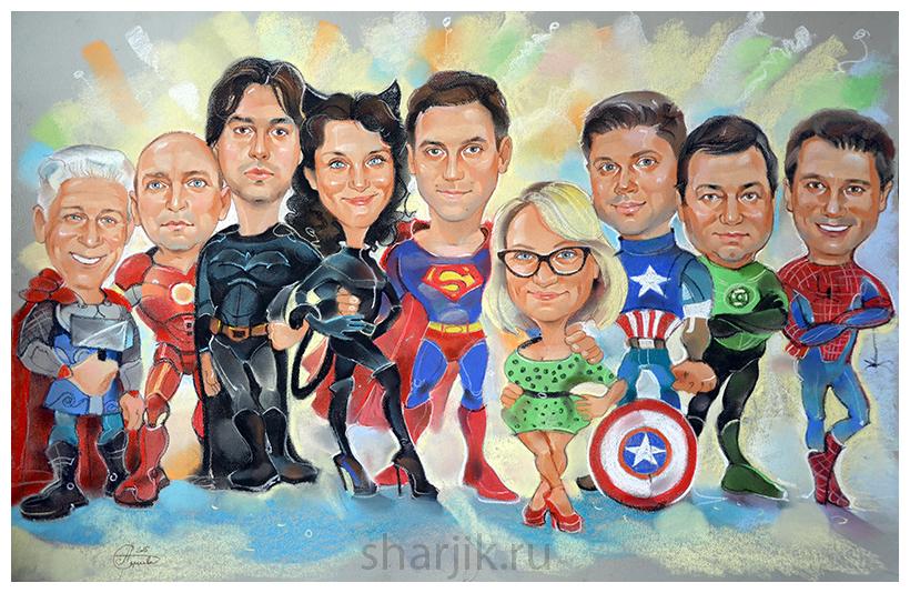 Супергеройский шарж, железный человек шарж, женщина кошка шарж, капитан америка