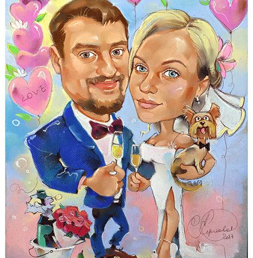 шарж по фото, свадьба, любовь, подарок, сердечки, невеста, жених
