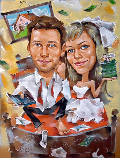 шарж на свадьбу, свадебный шарж, шаржик ру, художник александра Сергеева, шарж по фотографии, подарок на свадьбу
