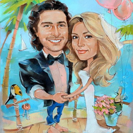 свадебный шарж, тревел шарж, шаржи на свадьбу, шарж питер, шарж спб, шаржик, подарок на свадьбу