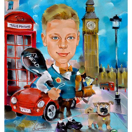 Лондон, детский шарж, что подарить мальчику, шаржи Александры Сергеевой, шаржик ру
