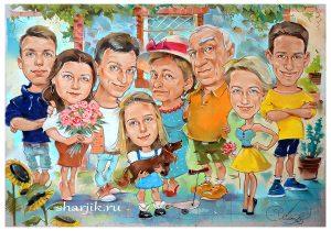 шаржи для большой семьи, группоой шарж, корпоративный портрет