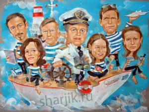 шарж корабль, шарж для компании, корпоративный шарж, что подарить сотрудникам