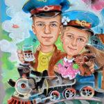 детский шарж, шаржикру, шаржи на заказ, портрет по фотографии, шарж паровоз, шаржи для друзей, весселые шаржи