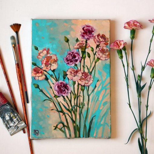купить картину с цветами, картина гвоздики, картина в подарок