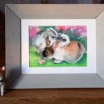 Кролики, любовь, святой валентин, подарок, заяц, пастель картина