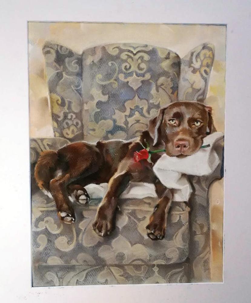 лабрадор, портрет собаки, арт, пет арт, портрет пастелью