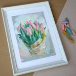 купить картину пастелью, купить картину, картина для дома, пастель, купить живопись, цветы, тюльпаны, картина с тюльпанами