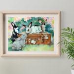 картина с кроликами , арт с кроликом, картина в детскую, подарок картина, купить картину с животными, художник пастелист сергеева кролики