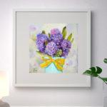 гиацинт, картина пастелью с цветком, интерьерная картина