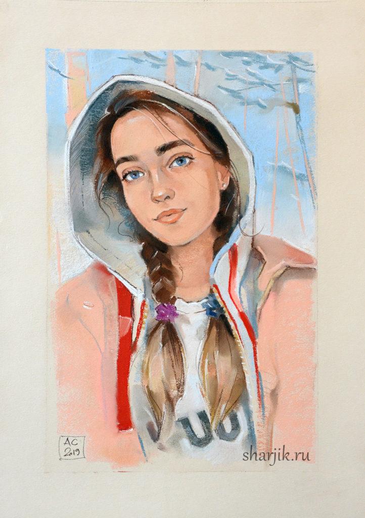 Портрет девушки по фотографии в стиле импрессионизм, выполнен на заказ на День Рождения, портрет пастелью, портрет карандашом, портрет в капюшоне