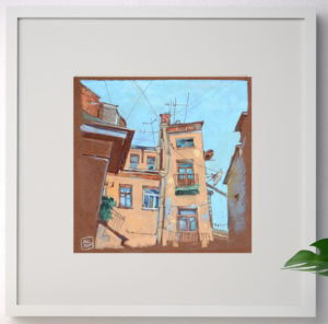 купить арт, рисунок Питер, рисунок спб, крыши спб живопись, интерьерная картина, графика