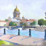 городской пейзаж, этюд купить картину санкт-петербург, вид спб картина