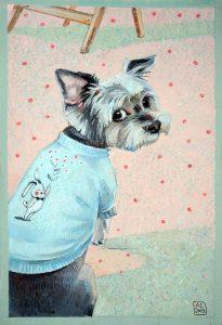 Продажа картины , купить картину с йорком, картина с собакой