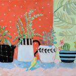купить живопись, декоративный натюрморт, натюрморт с горшками и суккулентами