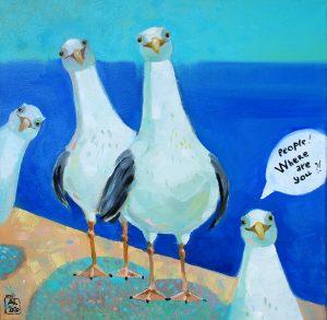 картина маслом продажа, купить картину, купить картину в подарок, чайки, веселая картина