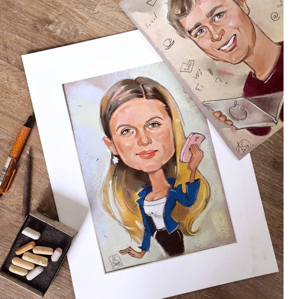 шарж за 2500 руб, цветные портретные шаржи, шаржи по фото