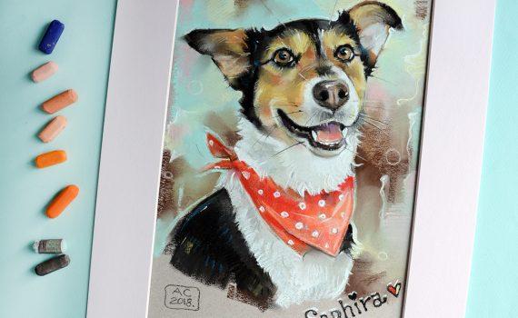 портрет собаки, портрет питомца, Купить картину с собакой, купить картину терьер