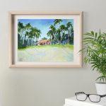 Картина пастелью пляжны дом в ГОА, интерьерная картина купить