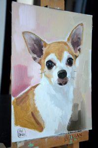 портрет собаки маслом, портрет чихуахуа, портрет маленькой собачки