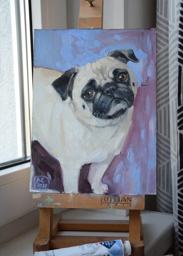 мопс картина, картина с собакой, сувенирный арт