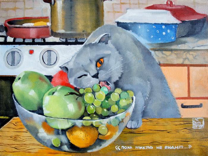 смешной кот картина, коты, котик ест фрукты, забавный кот купить картину