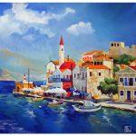 Картина с грецией, картина Сицилия картина Тенерифе, красивая живопись