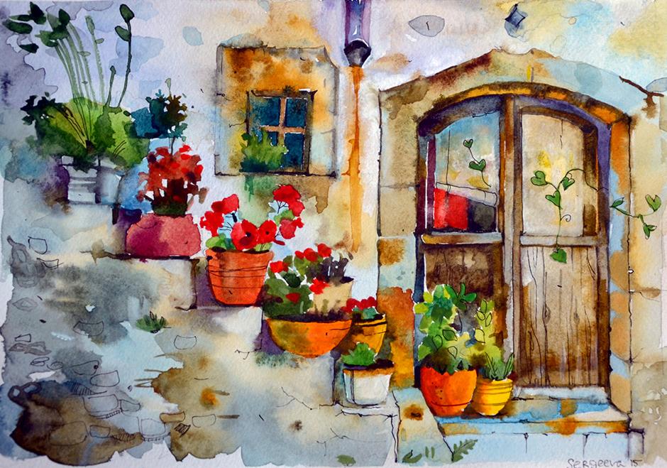 открыточная живопись, картинки акварелью, европейский город, дом