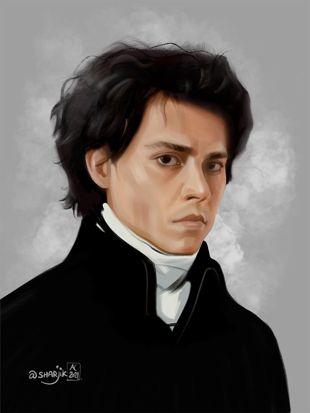 портрет джонни депп, портрет на айпаде, цифровая иллюстрация