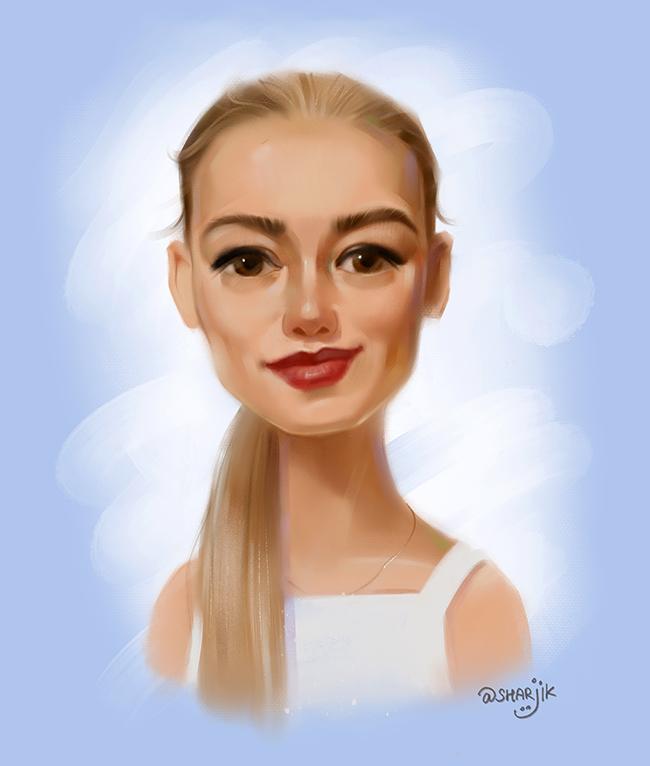 Оксана Акиньшина шарж, компьтерный портрет, карикатура на заказ