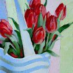 картина с тюльпанами, красные тюльпаны, картина маслом, картина цветы спб, купить картину с красными тюльпанами спб