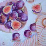 Интерьерная картина натюрморт с инжиром, купить картину недорого, купить картину с фруктами, инжир картина, инжир маслом на холсте